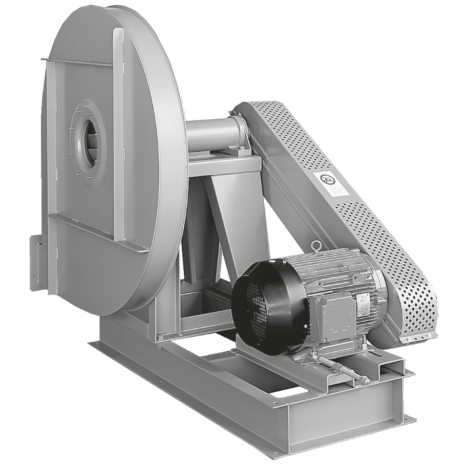 High pressure centrifugal fans with backward curved impeller belt drive